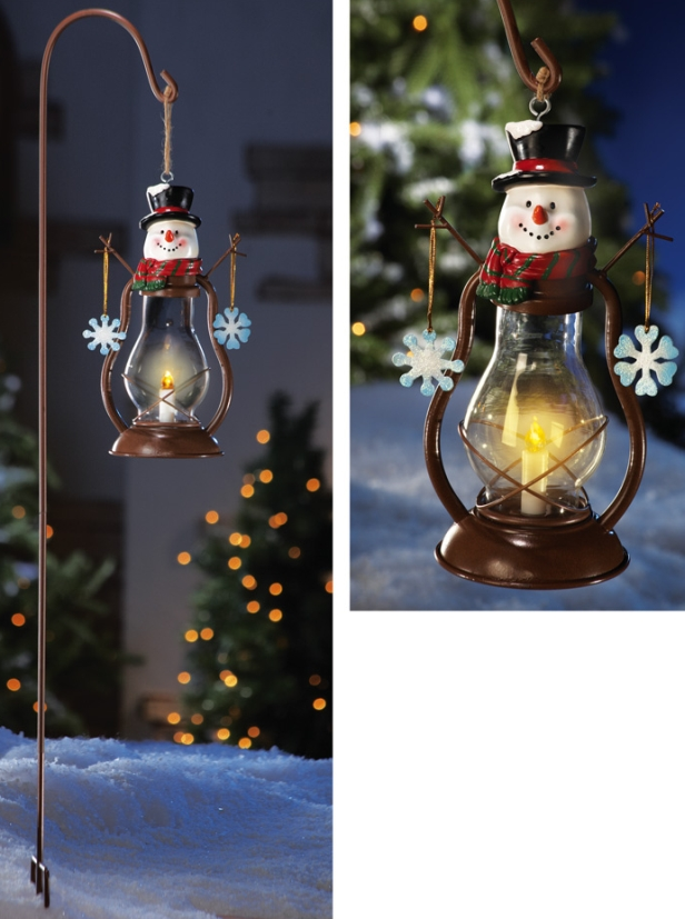 Solar Country Snowman Outdoor Garden Lantern W Hook