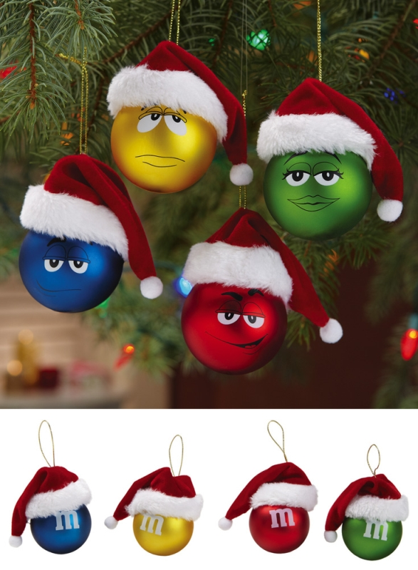 M&M Santa Hat Christmas Ornaments