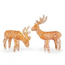 Assorted Gold Rattan Reindeer with Clear Lights