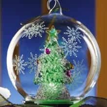 Lighted Christmas Tree Glass Ball Ornament