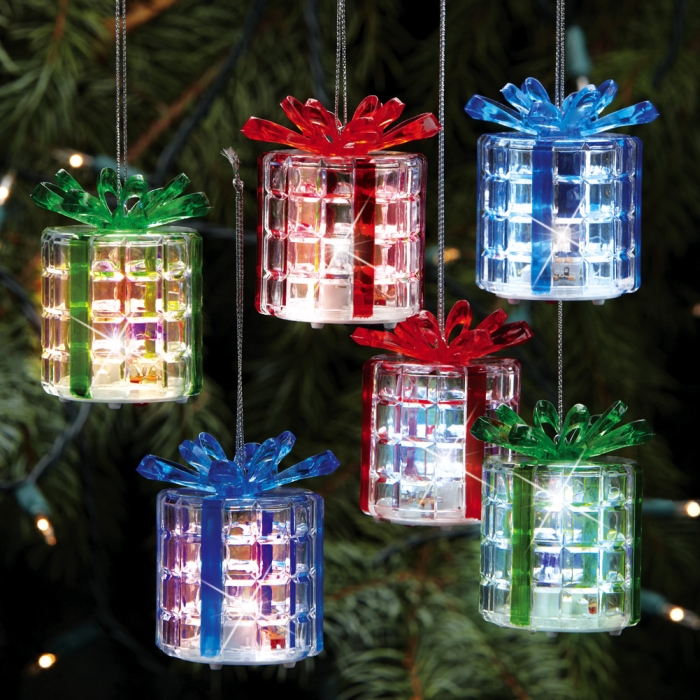 Color changing lighted gift box ornaments christmas
