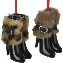 Resin Boots with Fur Ornament