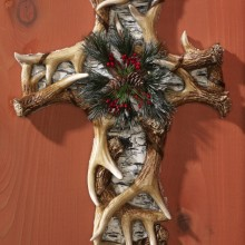 Antler & Birch Tree Holiday Wall Cross