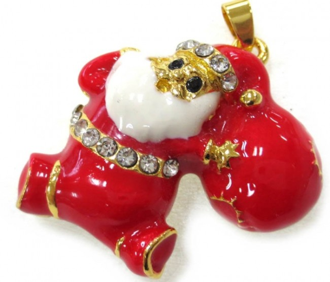 USB Flash Drive 8gb 2.0 High Speed Bling Santa Claus Red