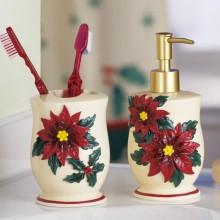 Poinsettia Christmas Bathroom Accessory Set