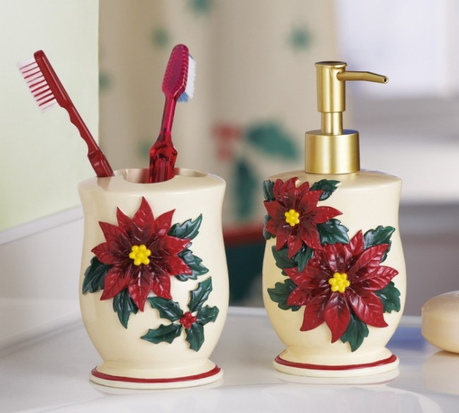 Poinsettia Christmas Bathroom Accessory Set