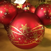 Disney Parks Mickey Ears Red & Gold Ornament