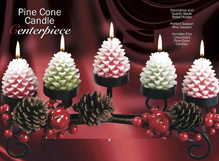 Holiday pine cone candle centerpiece christmas