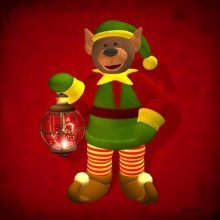 Christmas Elf with Lantern - Mouse Pads