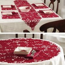 Poinsettia Holiday Table Linens Runner