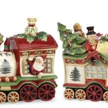 Christmas Tree 2-Piece Train Set Covered Cookie Jar