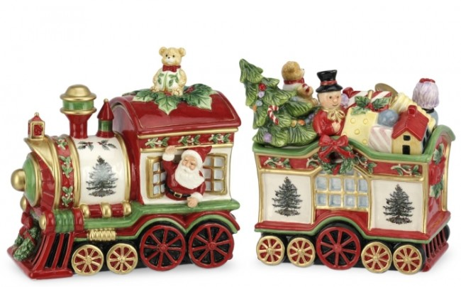 Christmas Tree 2-Piece Train Set Covered Cookie Jar