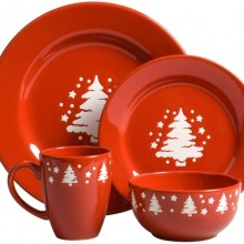 Trees Christmas 16-Piece Dinnerware Place Setting