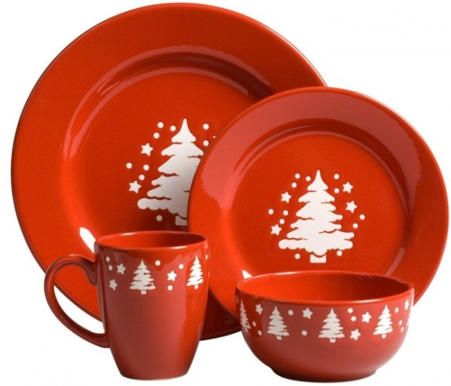 Trees Christmas 16-Piece Dinnerware Place Setting