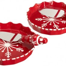 Holiday Table Falling Snow Pie Plate