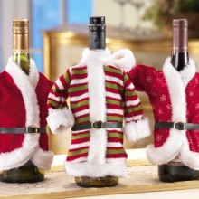 Decorative Christmas Holiday Wine Bottle Jacket Covers