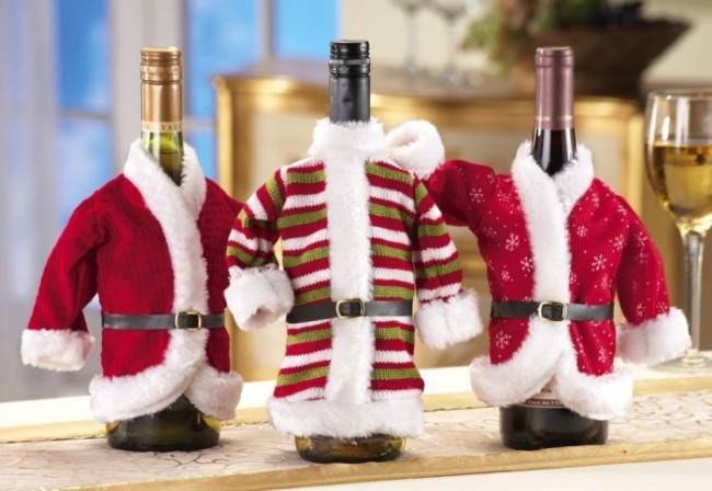 Decorative Christmas Holiday Wine Bottle Jacket Covers