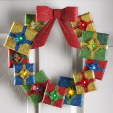 Lighted Holiday Gifts Door Wreath