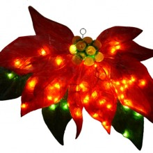 Illuminated Fiberglass Poinsettia Christmas Light