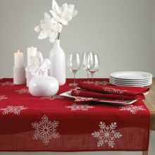 Snowflake Holiday Christmas Red Table Runner