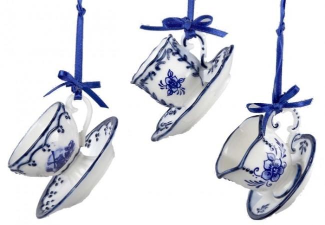 Porcelain Delft Blue Cup and Saucer Ornament