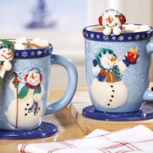 Snowman Holiday Mug and Spoon Gift Set
