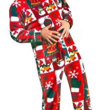 Christmas Sweater Print Polar Fleece Drop Seat Feetie Pajamas