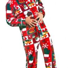 Christmas Sweater Print Polar Fleece Drop Seat Feetie Pajamas