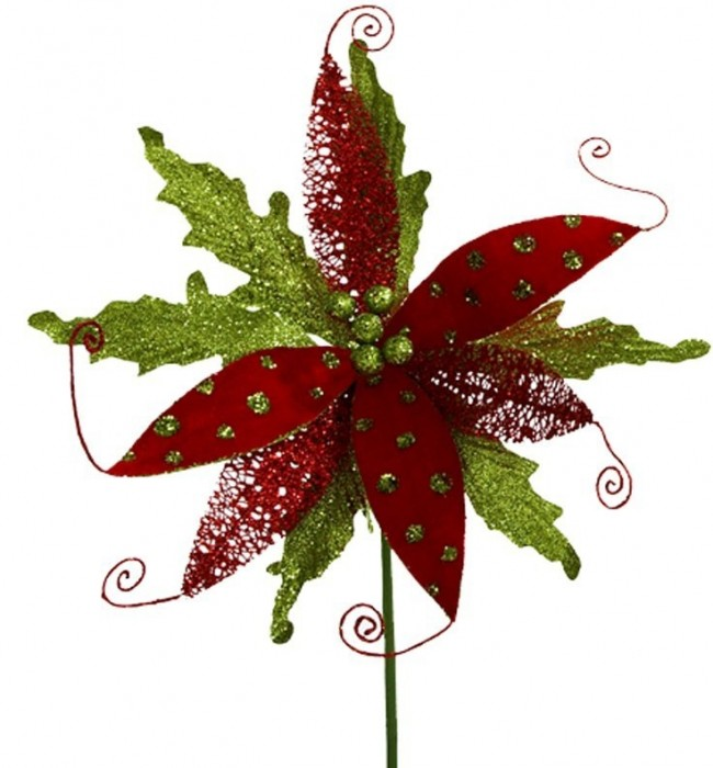 Red and Green Poinsettia Stems