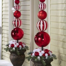 Christmas Ornament Ball Finial Topiary Stake