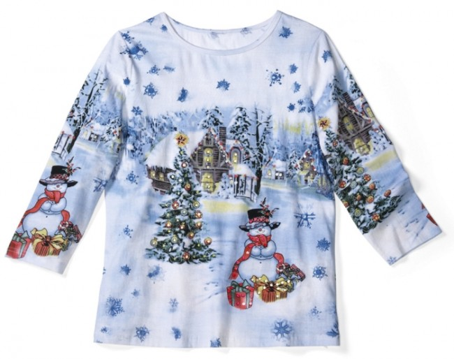 Christmas in Snowy Woods Sequin Holiday Top