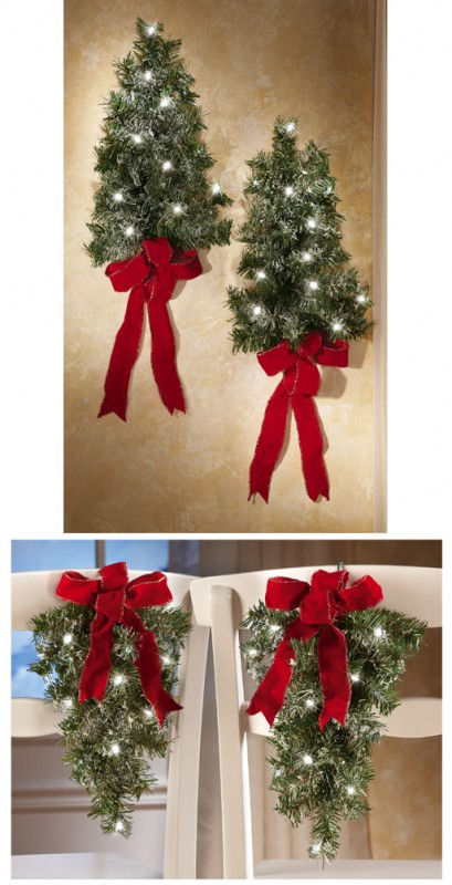 Lighted Holiday Wall Tree Set