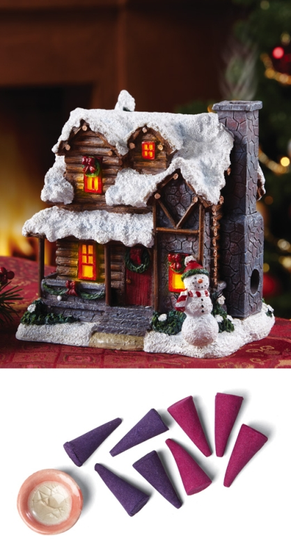 Smoking Country Christmas Cabin Decorative Incense Figurine