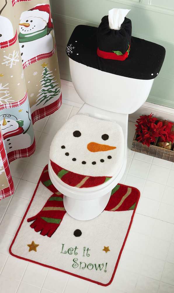 Snow Time Country Snowman Commode Set Christmas
