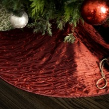 Classic Red Christmas Tree Skirt - Embroidered Taffeta