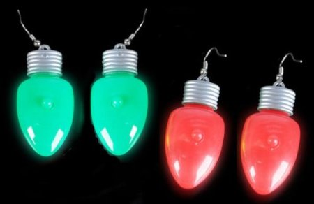 Christmas Holiday Light up Light Bulb Flashing Earrings