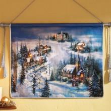 Lighted Victorian Christmas Winter Village Hanging Wall Art