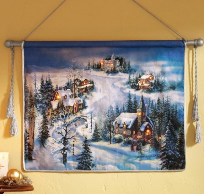 Lighted Victorian Christmas Winter Village Hanging Wall Art