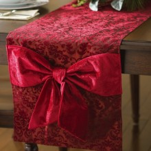 Burgundy Scroll Christmas Holiday Table Runner
