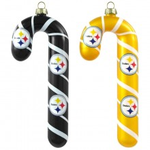NFL Pittsburgh Steelers Blown Glass Candy Cane Ornament Set