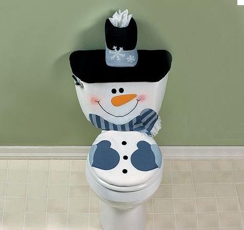Snowman Toilet Cover SET Christmas Winter Bathroom Decor Seasonal