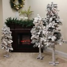 Set of 3 Flocked Woodland Alpine Artificial Christmas Trees