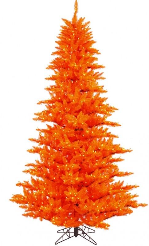 "Vickerman 28226 - 3' x 25"" Orange Fir 100 Orange Lights Christmas Tree"