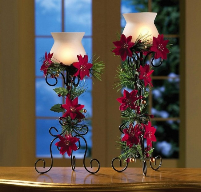 Poinsettia Candle Holders