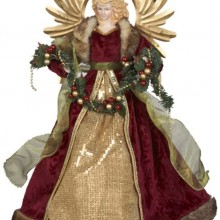 Gold and Burgundy with Fruit Angel Treetop