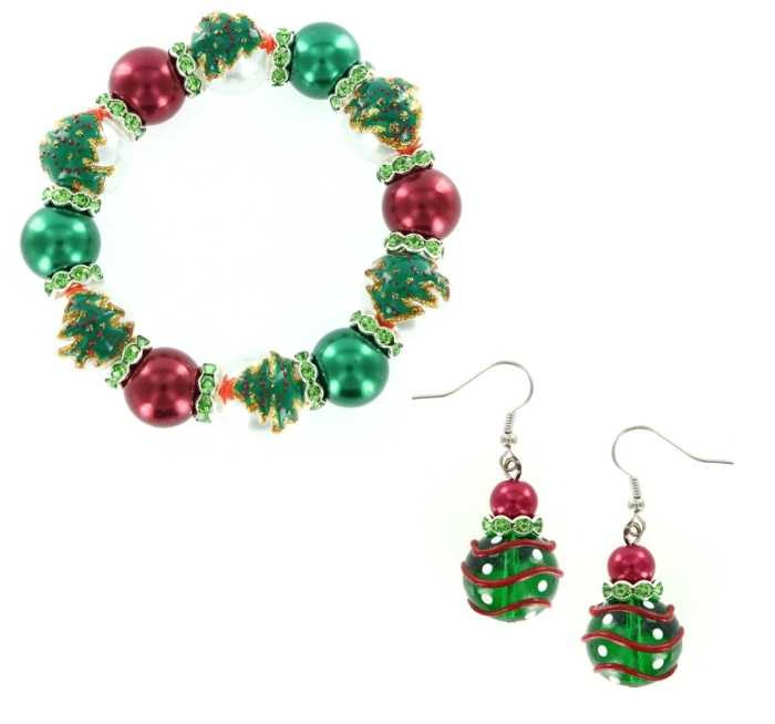 Christmas Tree & Ornament Glass Bead Bracelet & Earring Set