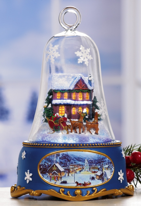 Santa's Sleigh Lighted Musical Bell Christmas Collectible