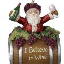 Santa on Wine Barrel Ornament
