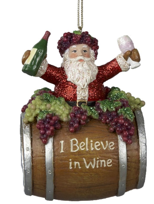 Santa on Wine Barrel Ornament