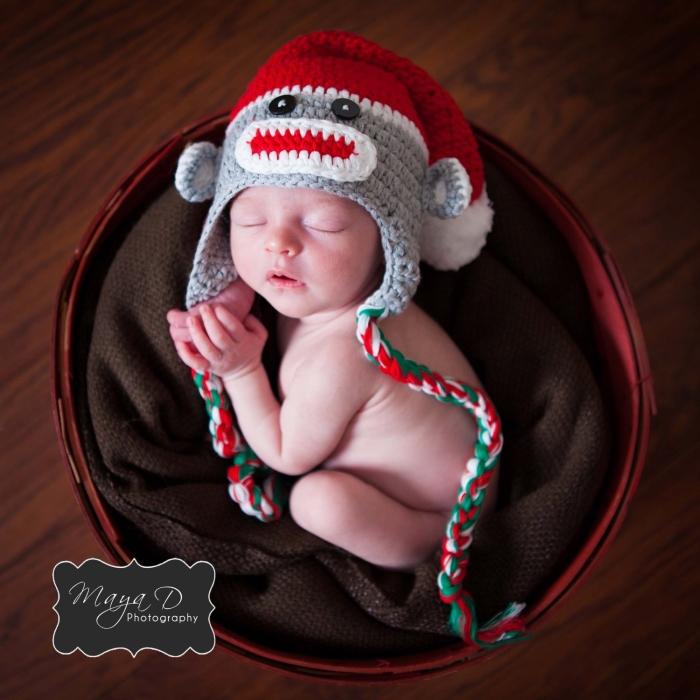 Christmas Sock Monkey Baby Hat